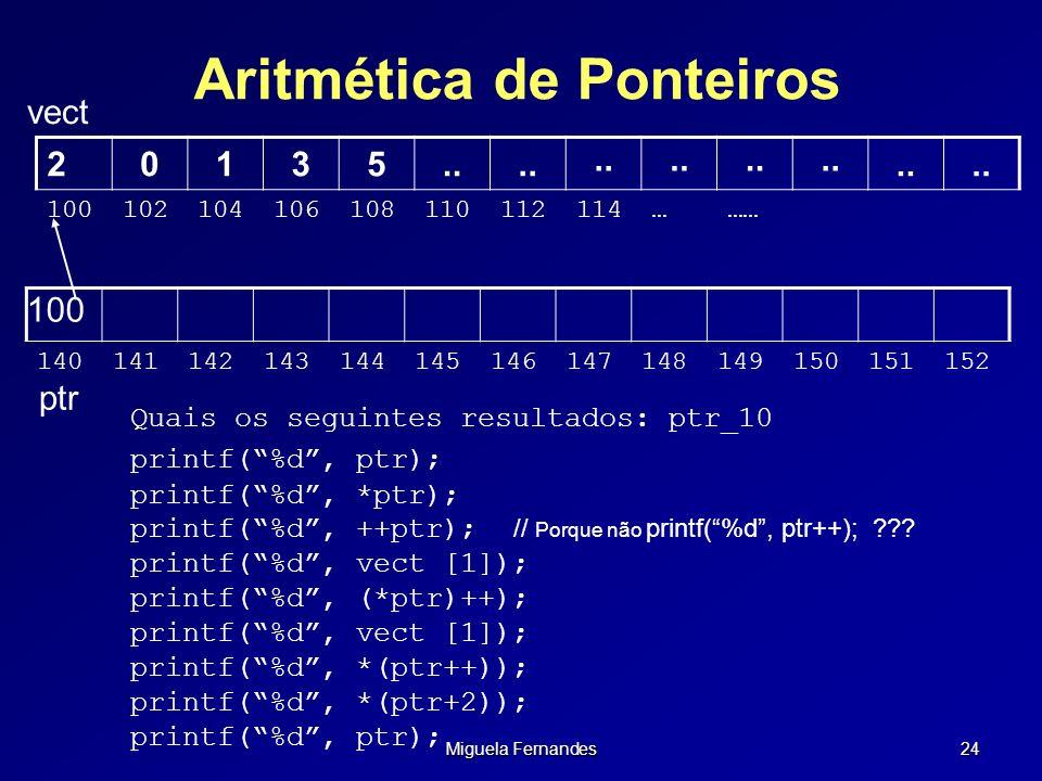 Miguela Fernandes 24 Aritmética de Ponteiros vect 100 140141142143144145146147148149150151152 20135.. 100102104106108110112114……… ptr Quais os seguint
