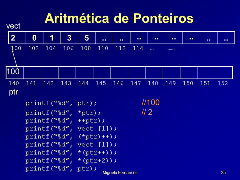 Miguela Fernandes 25 Aritmética de Ponteiros vect 100 140141142143144145146147148149150151152 20135.. 100102104106108110112114……… ptr printf(%d, ptr);