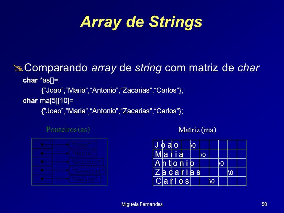 Miguela Fernandes 50 Array de Strings Comparando array de string com matriz de char char *as[]= {Joao,Maria,Antonio,Zacarias,Carlos}; char ma[5][10]=