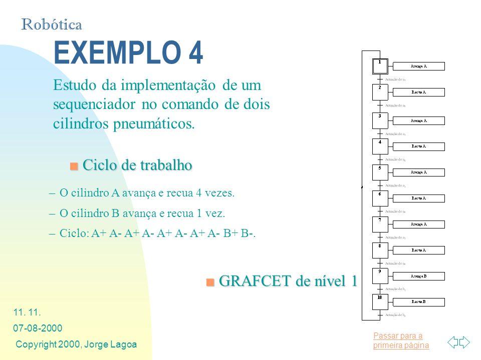 Passar para a primeira página Robótica 07-08-2000 Copyright 2000, Jorge Lagoa 11. EXEMPLO 4 Estudo da implementação de um sequenciador no comando de d