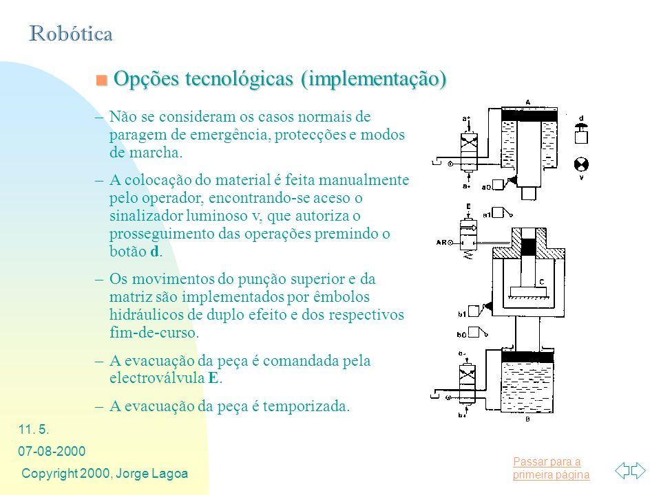 Passar para a primeira página Robótica 07-08-2000 Copyright 2000, Jorge Lagoa 11. 5. Opções tecnológicas (implementação) Opções tecnológicas (implemen