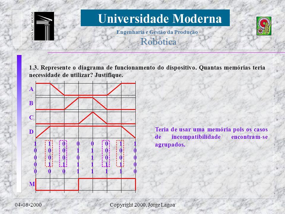 Engenharia e Gestão da Produção Robótica 04-08-2000Copyright 2000, Jorge Lagoa 1.3. Represente o diagrama de funcionamento do dispositivo. Quantas mem