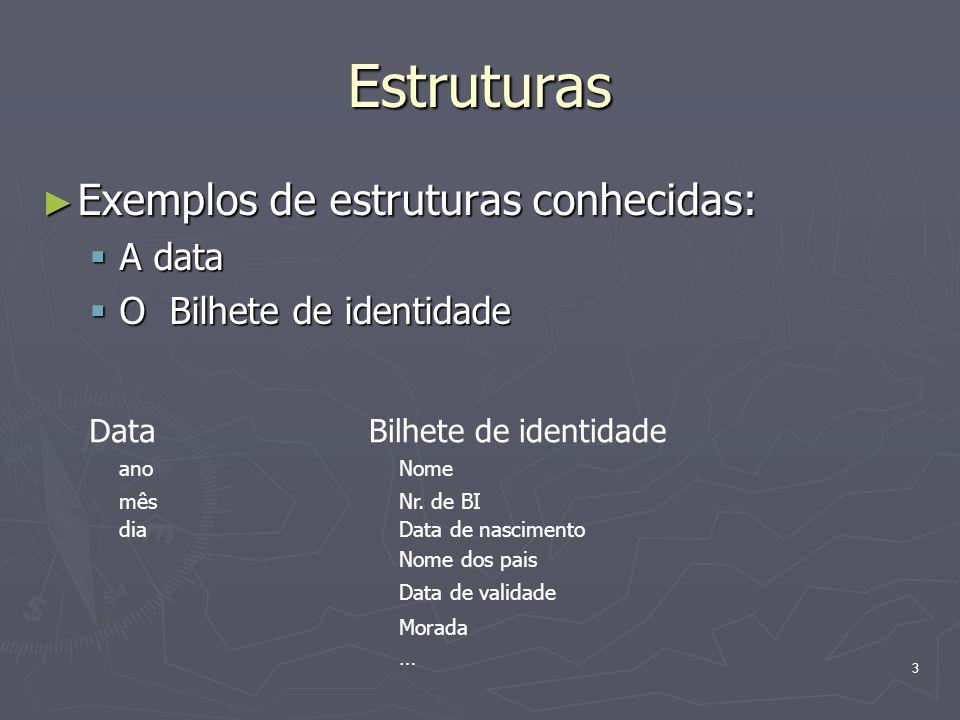 3 Estruturas Exemplos de estruturas conhecidas: Exemplos de estruturas conhecidas: A data A data O Bilhete de identidade O Bilhete de identidade Data