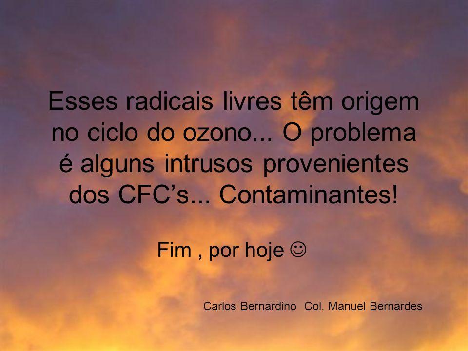 Esses radicais livres têm origem no ciclo do ozono... O problema é alguns intrusos provenientes dos CFCs... Contaminantes! Fim, por hoje Carlos Bernar