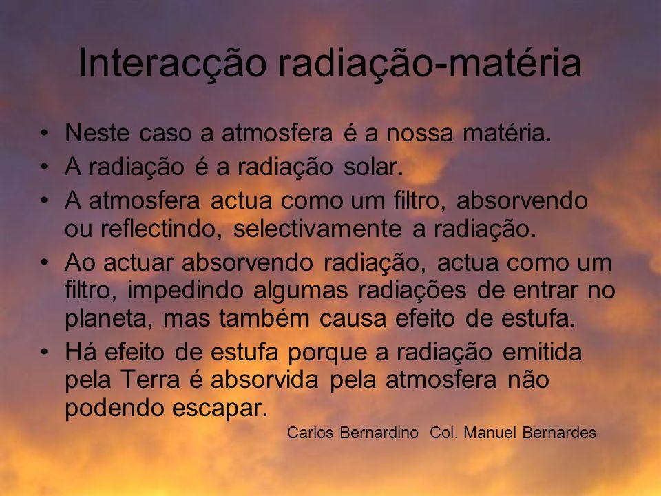 Interacção radiação-matéria Neste caso a atmosfera é a nossa matéria. A radiação é a radiação solar. A atmosfera actua como um filtro, absorvendo ou r