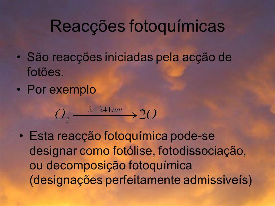 Reacções fotoquímicas São reacções iniciadas pela acção de fotões. Por exemplo Esta reacção fotoquímica pode-se designar como fotólise, fotodissociaçã