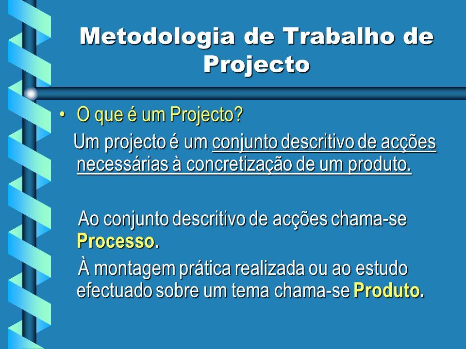 Metodologia de Trabalho de Projecto O que é um Projecto?O que é um Projecto? Um projecto é um conjunto descritivo de acções necessárias à concretizaçã
