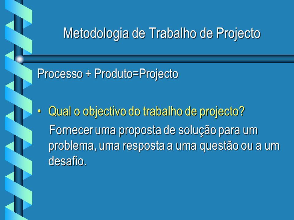 Metodologia de Trabalho de Projecto Processo + Produto=Projecto Qual o objectivo do trabalho de projecto?Qual o objectivo do trabalho de projecto? For