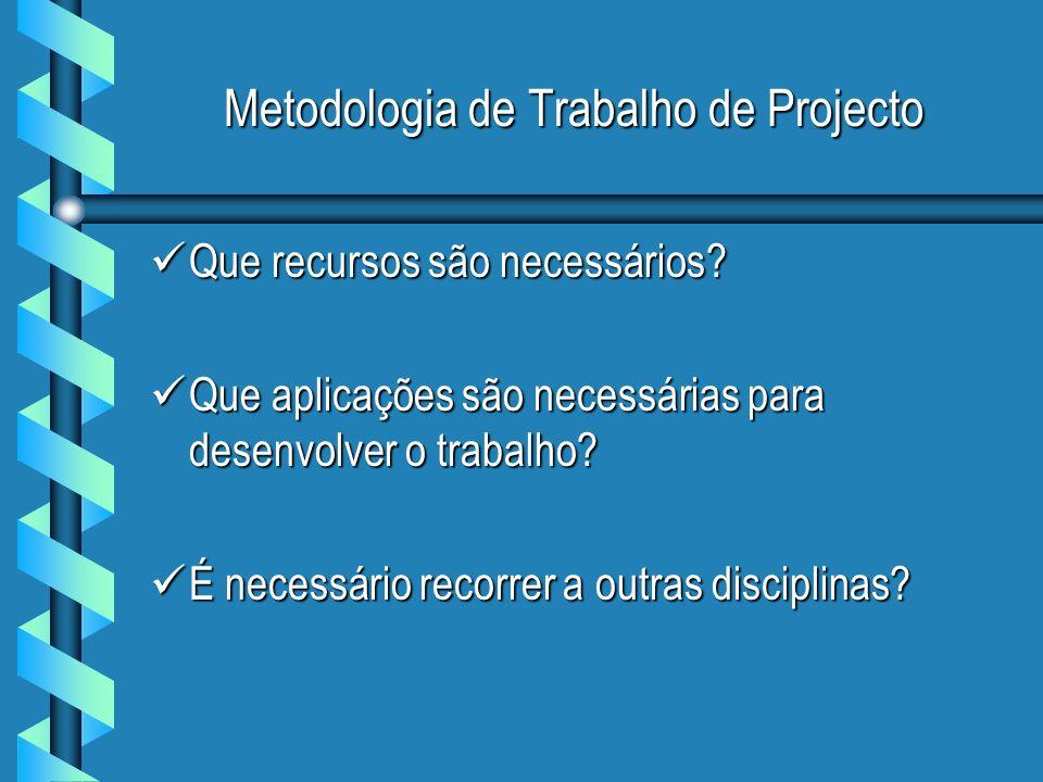 Metodologia de Trabalho de Projecto Que recursos são necessários? Que recursos são necessários? Que aplicações são necessárias para desenvolver o trab