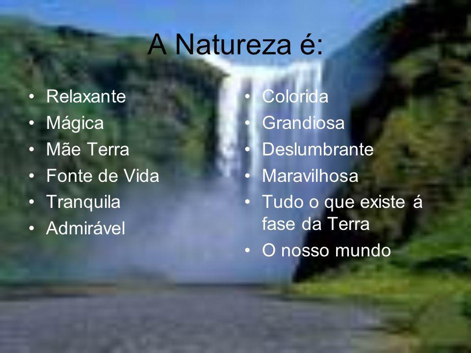 A Natureza é: Relaxante Mágica Mãe Terra Fonte de Vida Tranquila Admirável Colorida Grandiosa Deslumbrante Maravilhosa Tudo o que existe á fase da Ter