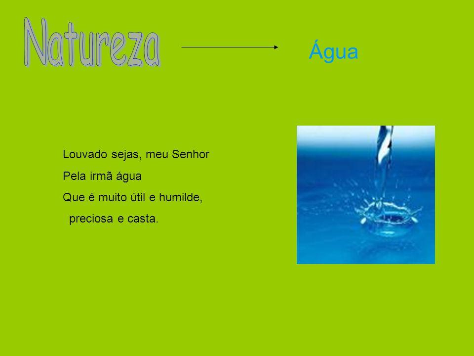 Água Louvado sejas, meu Senhor Pela irmã água Que é muito útil e humilde, preciosa e casta.
