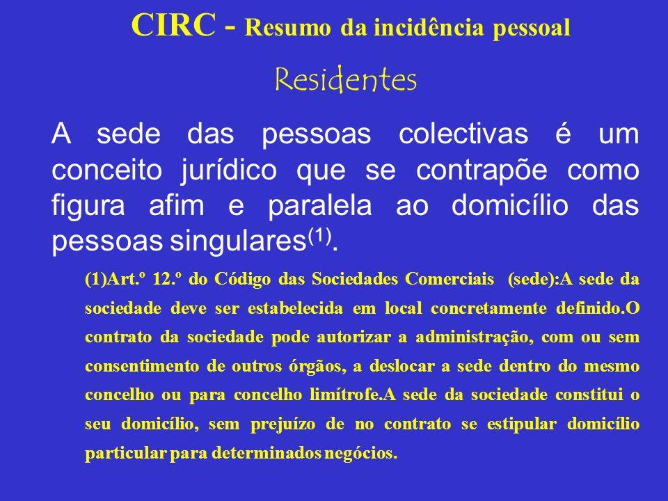 CIRC - Resumo da incidência pessoal Residentes A sede da pessoa colectiva é aquela que os respectivos estatutos designem ou, na falta de designação, o lugar em que funciona a administração principal (art.º 159.º do Código Civil).