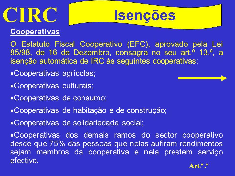 CIRC Isenções Excepto rendimentos sujeitos a IRC por retenção na fonte e resultados provenientes de operações com terceiros, de actividades alheias aos fins cooperativos.(Art.º 13.º n.s 1 e 6 do EFC)