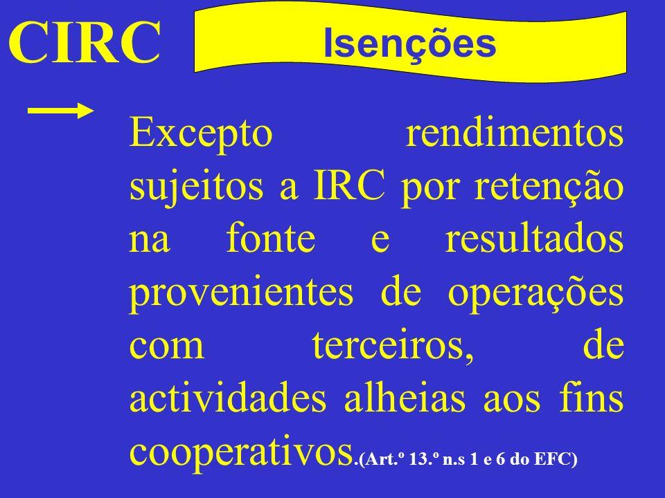 CIRC Isenções - Cooperativas Podem renunciar à isenção, com efeitos a partir do período de tributação seguinte àquele a que respeita a DR em que manifestarem a renúncia, aplicando- se então, com observância do art.º 7.º do EFC, o regime geral de tributação do IRC durante, pelo menos, cinco períodos de tributação.
