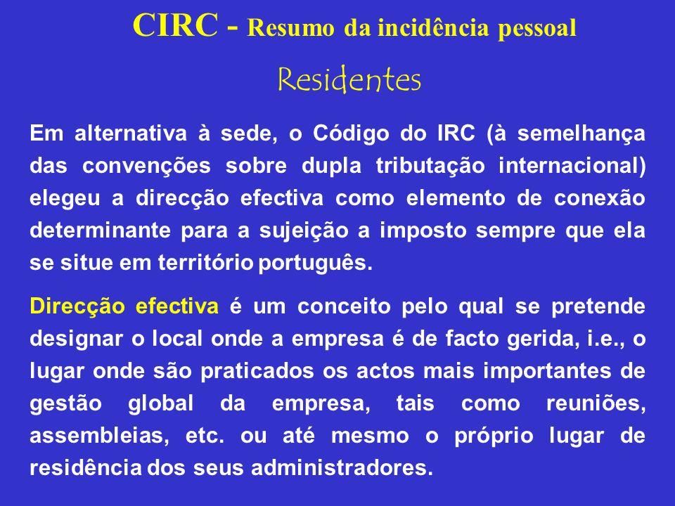 CIRC - Resumo da incidência pessoal NÃO RESIDENTES Entidades que obtenham em território português rendimentos não sujeitos a IRS.