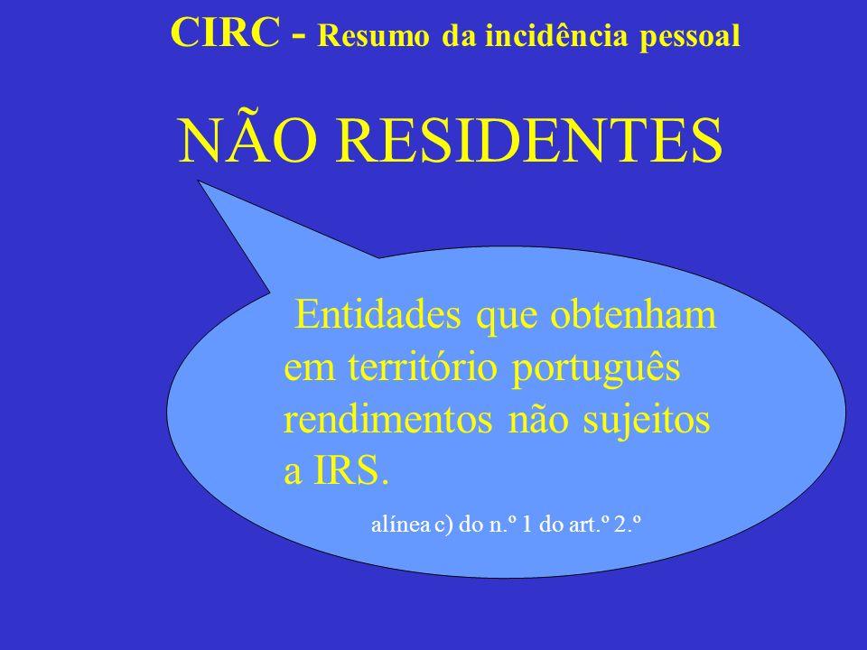 CIRC - Resumo da incidência pessoal Residentes Com personalidade jurídica Sem personalidade jurídica