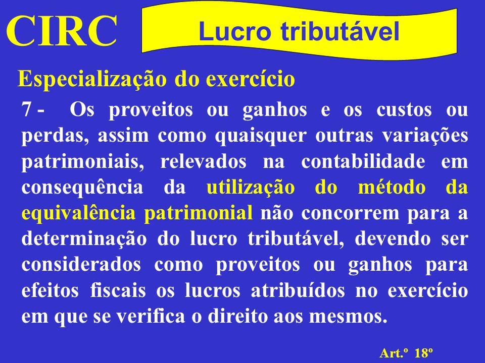CIRC Determinação da matéria colectável.