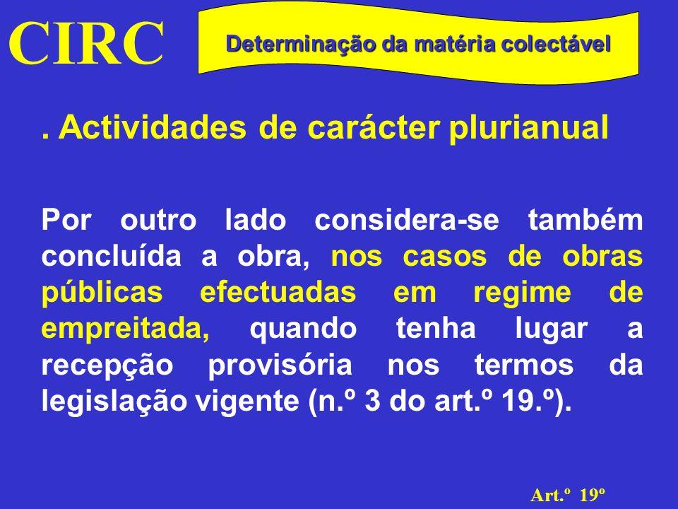 CIRC Art.º 19º Determinação da matéria colectável.