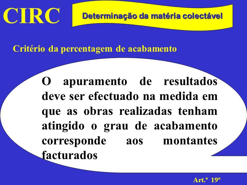 CIRC Art.º 19º Determinação da matéria colectável Critério da percentagem de acabamento O resultado imputável à obra dependerá, assim, de dois indicadores