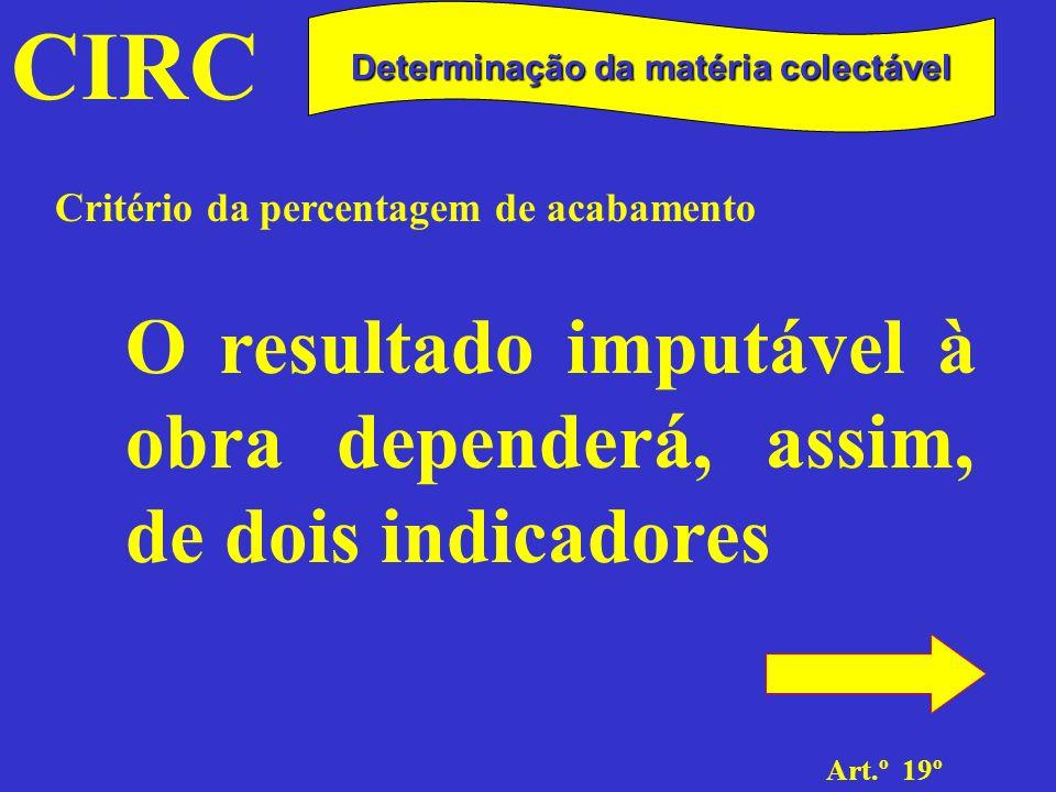 CIRC Art.º 19º Determinação da matéria colectável Percentagem de acabamento O grau de acabamento, definido como a relação entre o total dos custos incorporados na obra e a soma desses custos com os custos estimados para a execução completa da mesma.