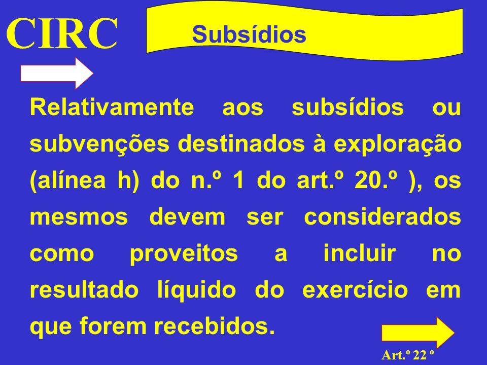 CIRC Art.º 22 º Subsídios Quanto aos subsídios não destinados à exploração, aos quais se dedicou o art.º 22.º, devem os mesmos ser encarados em duas vertentes conforme se trate de: