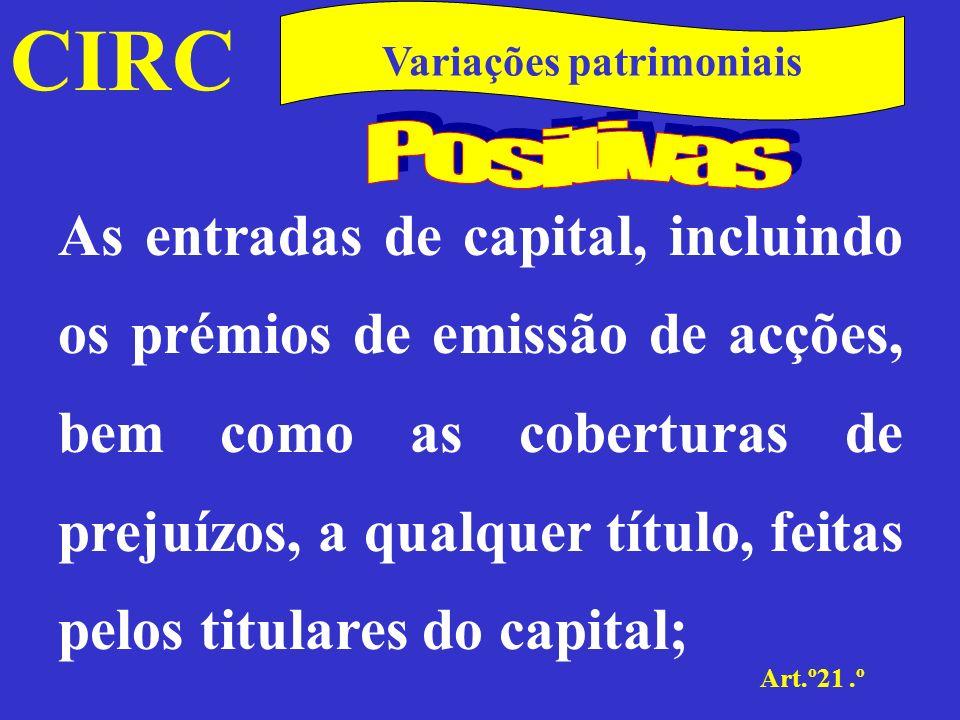 CIRC Art.º21.º Variações patrimoniais b)As mais-valias potenciais ou latentes, ainda que expressas na contabilidade, incluindo as reservas de reavaliação legalmente autorizadas;