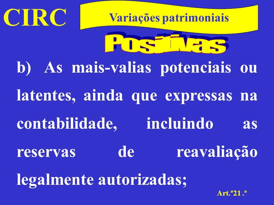 CIRC Art.º21.º Variações patrimoniais As mais-valias potenciais ou latentes são aquelas que não se realizaram por não ter havido transmissão onerosa de bens.