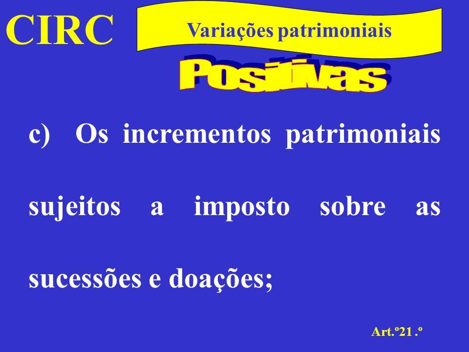 CIRC Art.º21.º Variações patrimoniais As contribuições, incluindo a participação nas perdas, do associado ao associante, no âmbito da associação em participação e da associação à quota.