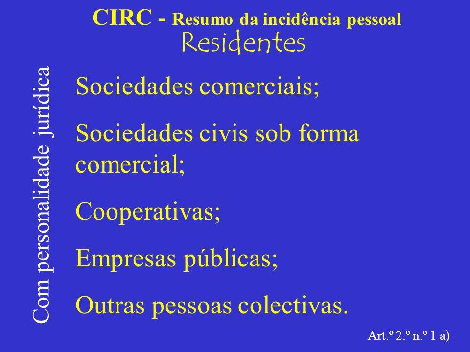 CIRC - Resumo da incidência pessoal Residentes Com personalidade jurídica Sociedades comerciais; As sociedades comerciais são comerciantes, a par dos comerciantes em nome individual (art.º 13.º do Código Comercial).