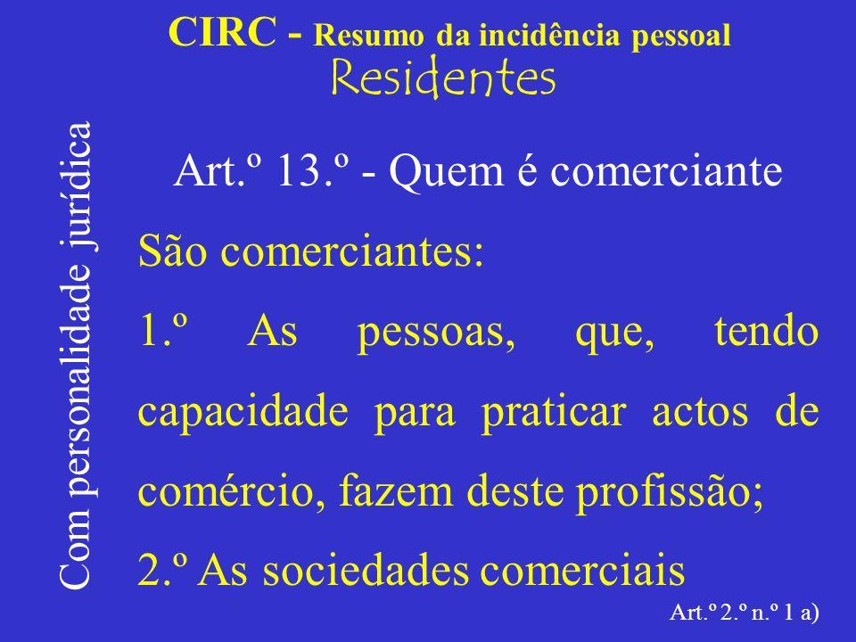 CIRC - Resumo da incidência pessoal Residentes Sociedades civis C.C.