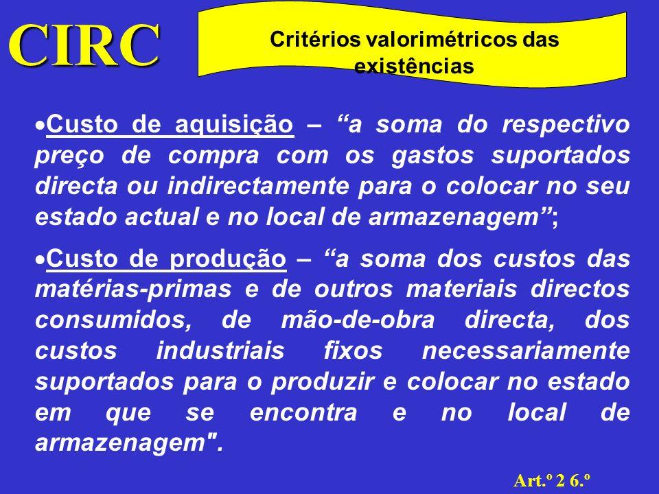 CIRC Art.º 2 6.º Critérios valorimétricos das existências Custo específico; Custo médio ponderado; Custo FIFO; Custo LIFO.