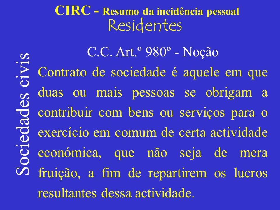 CIRC - Resumo da incidência pessoal Residentes Com personalidade jurídica Sociedades civis sob forma comercial; As sociedades civis podem adoptar qualquer um dos tipos societários já referidos, previstos para as sociedades comerciais.