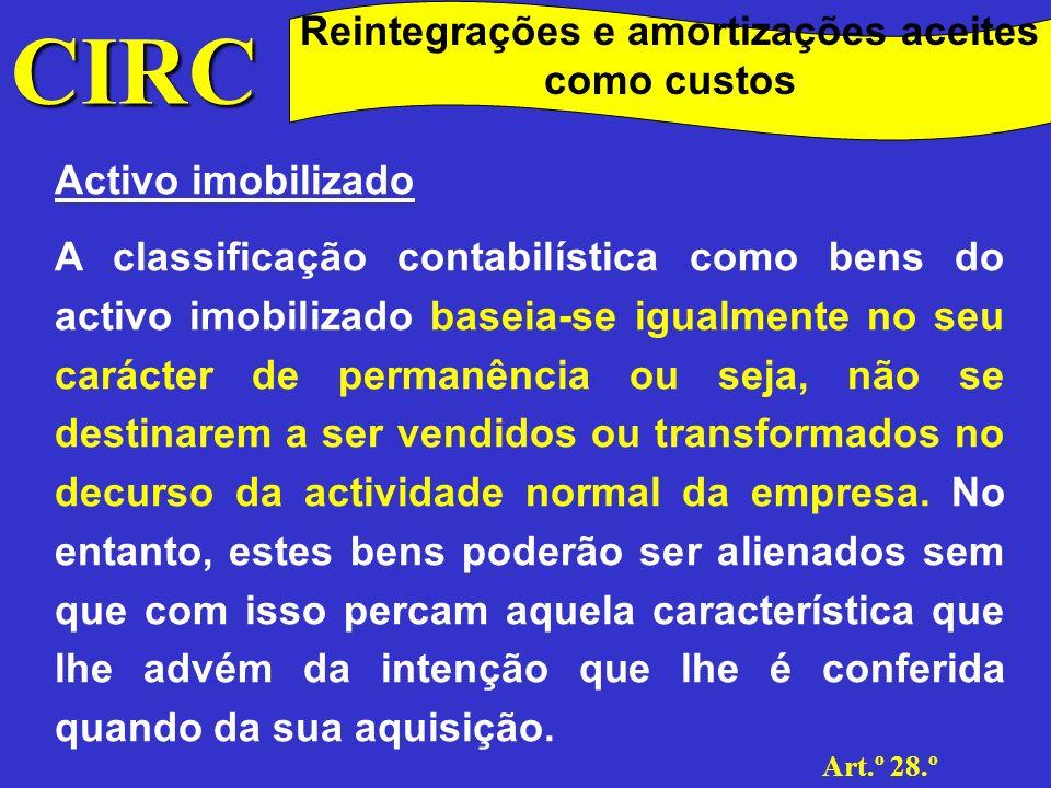 CIRC Taxas de Reintegração e amortização.
