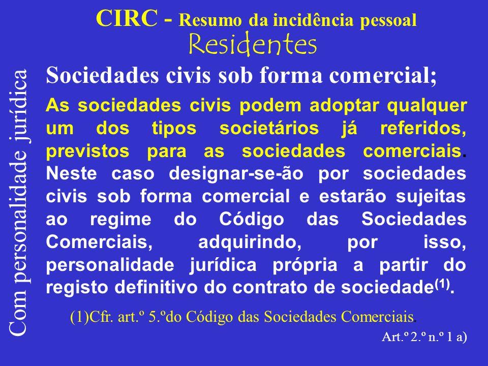 CIRC - Resumo da incidência pessoal Residentes Com personalidade jurídica Cooperativas; As cooperativas são pessoas colectivas autónomas, de capital e composição variáveis, que visam através da cooperação e entreajuda dos seus membros e na observância dos princípios cooperativos, a satisfação, sem fins lucrativos, das necessidades económicas, sociais ou culturais destes, podendo ainda, na prossecução dos seus objectivos, realizar operações com terceiros (art.º 2.º da Lei n.º 51/96, de 7 de Setembro – Código Cooperativo).