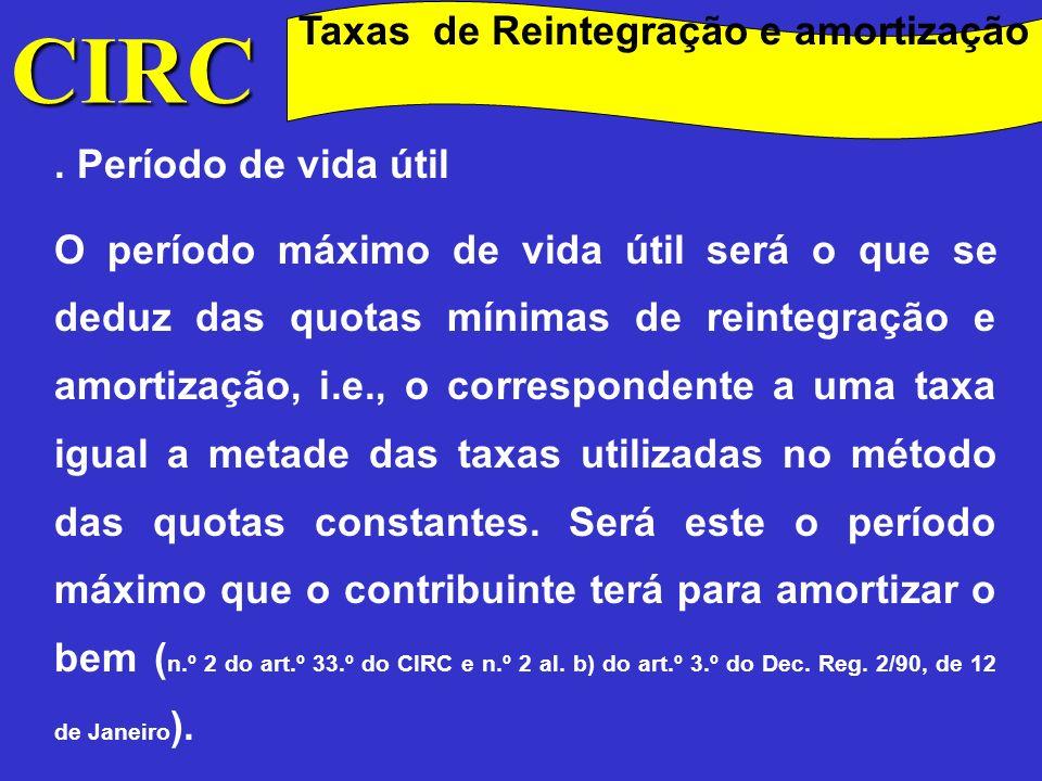 CIRC Método de cálculo Método de cálculo das reintegrações e amortizações Em sede de IRC, o cálculo das reintegrações e amortizações do exercício far-se-á, em regra, pelo método das quotas constantes (art.º 29.º, n.º 1).
