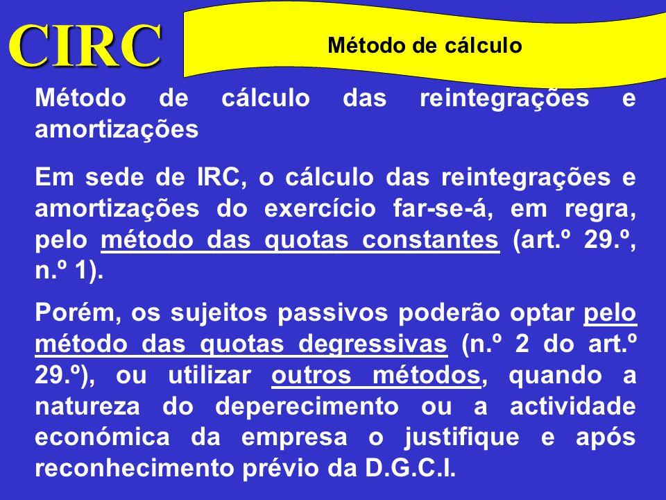 CIRC Quotas Note-se que, excepto nas condições atrás referidas (desvalorizações excepcionais), não serão aceites como custo amortizações superiores à quota máxima correspondente à aplicação das taxas constantes do Decreto Regulamentar n.º 2/90, de 12 de Janeiro.