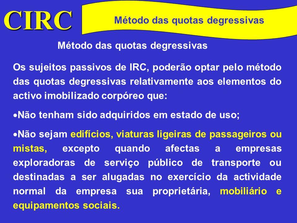 CIRC Conceitos Método das quotas degressivas MAJORAÇÃO 1,5 - se o período de vida útil do elemento for inferior a 5 anos; 2 - se o período de vida útil do elemento for de 5 ou 6 anos; 2,5 - se o período de vida útil for superior a 6 anos.