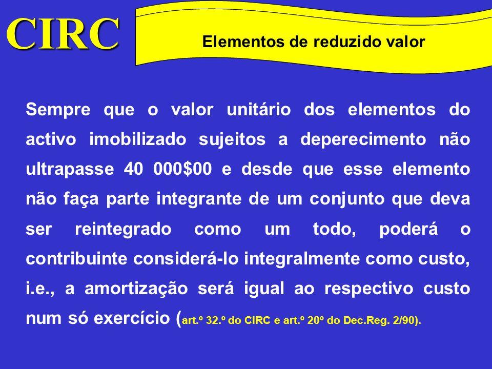 CIRC Conceitos Método das quotas degressivas Despesas de investigação e desenvolvimento Também as despesas de investigação e desenvolvimento poderão ser consideradas como custo no exercício em que sejam suportadas se enquadráveis no disposto nos n.