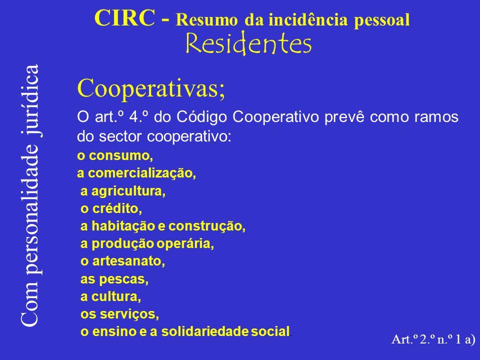 CIRC - Resumo da incidência pessoal Residentes Com personalidade jurídica Cooperativas; A função desempenhada pelas cooperativas assume um especial relevo que é reforçado pela dignidade constitucional que lhe é conferida (art.