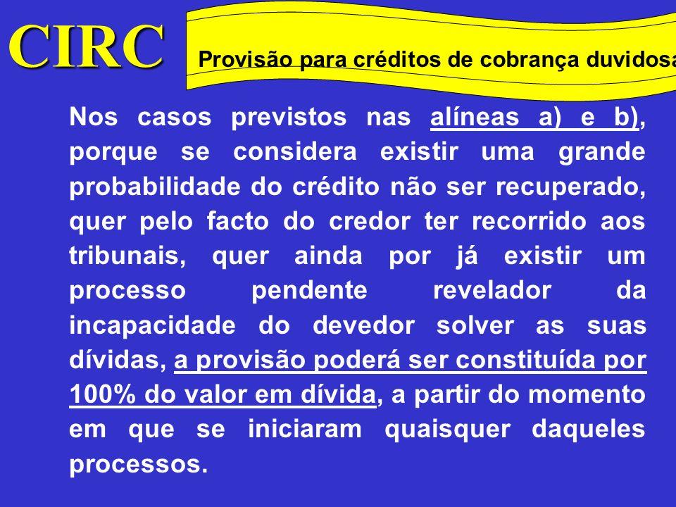CIRC Conceitos Método das quotas degressivas Provisão para créditos de cobrança duvidosa Também se considera existir o risco de incobrabilidade quando já decorreu o tempo considerado razoável para a satisfação da dívida e, apesar das diligências efectuadas, não foi possível o seu recebimento.