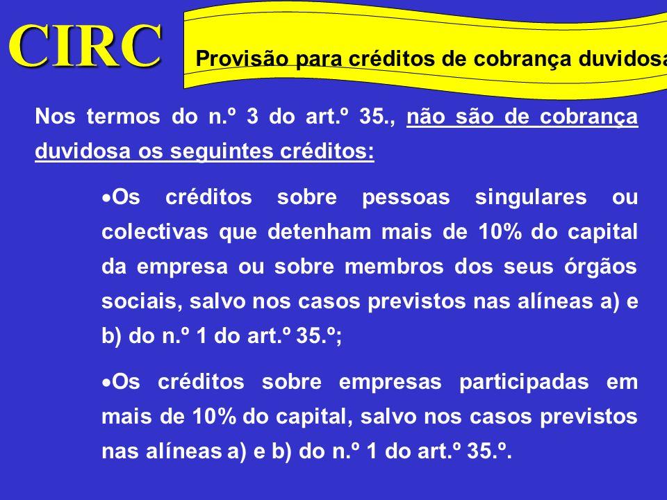 . Provisão para depreciação de existências A provisão para depreciação de existências que poderá ser aceite para efeitos fiscais é a seguinte (n.º 1 do art.º 36.º): Para matérias-primas e matérias subsidiárias de consumo, pela diferença (quando positiva) entre o custo de aquisição das existências constantes no balanço no fim do exercício (de acordo com o critério valorimétrico adoptado) e o custo de reposição () ; CIRC Conceitos Método das quotas degressivas Provisão para depreciação de existências