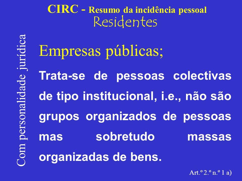 CIRC - Resumo da incidência pessoal Residentes Com personalidade jurídica Outras pessoas colectivas.