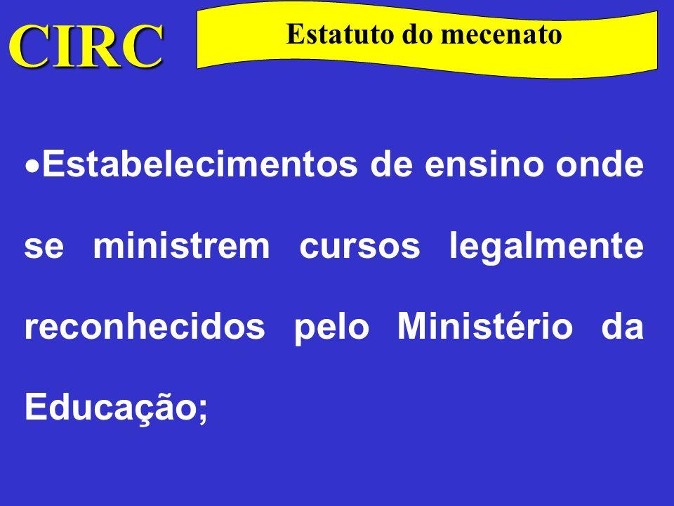 CIRC Estatuto do mecenato Instituições responsáveis pela organização de feiras universais ou mundiais.