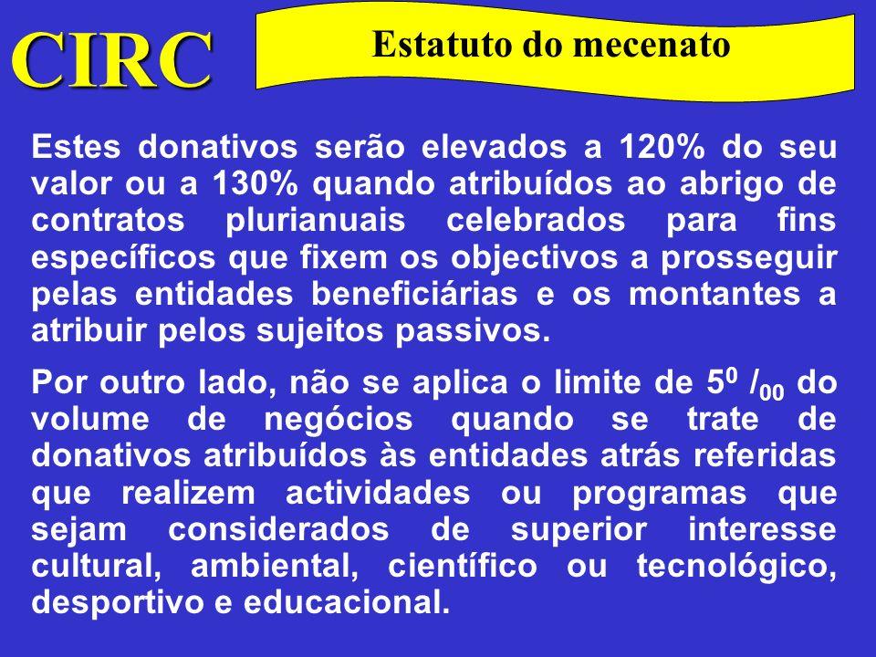 CIRC Estatuto do mecenato. Donativos para sociedade de informação