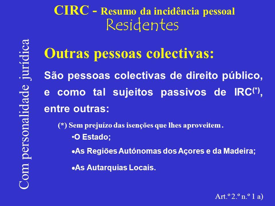 CIRC - Resumo da incidência pessoal Residentes Com personalidade jurídica Outras pessoas colectivas: Serão pessoas colectivas de direito privado, sujeitas a IRC (*), as restantes, nomeadamente: (*)Sem prejuízo dos benefícios fiscais que lhes sejam atribuídos.