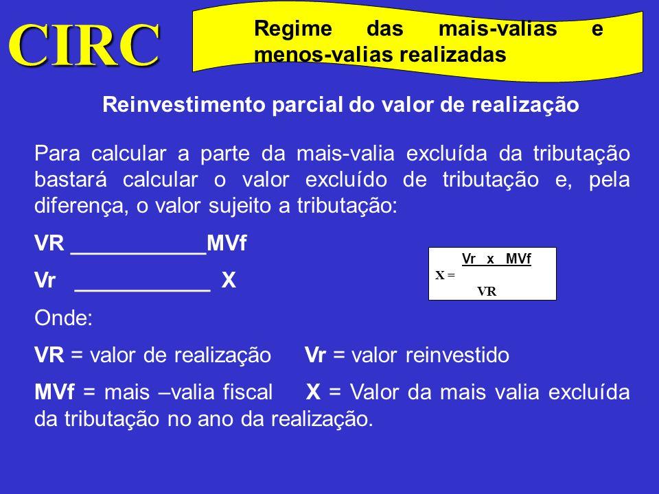CIRC Regime das mais-valias e menos-valias realizadas Não reinvestimento do valor de realização Situação extrema será a que se refere o n.º 5 do art.º 44.º (anterior redacção), correspondente à não concretização do reinvestimento do valor realizado até ao final do terceiro exercício seguinte ao da realização.