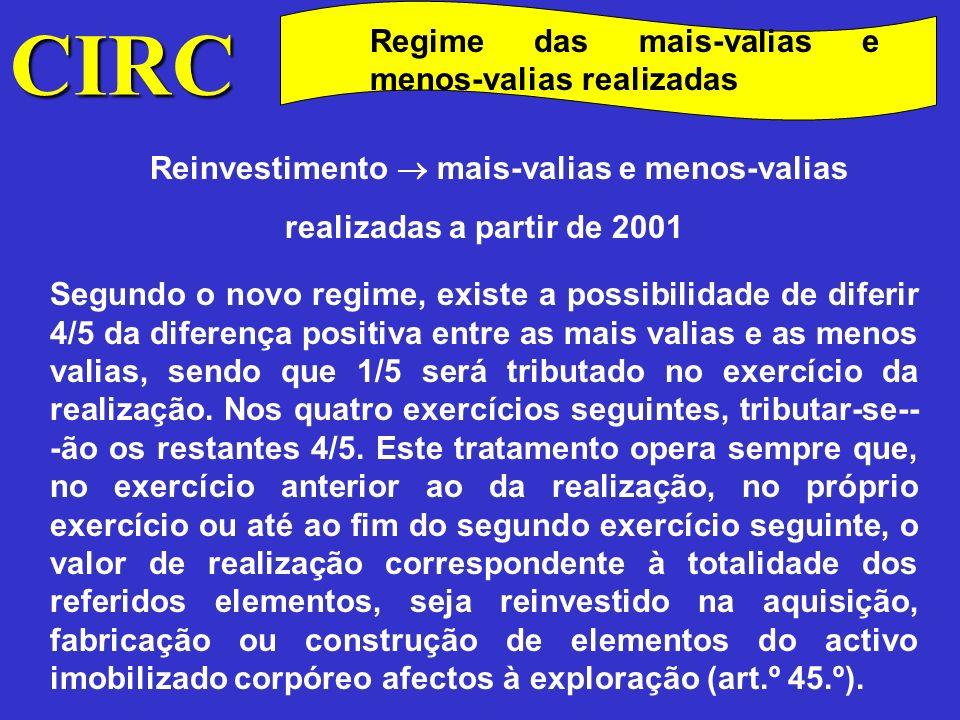 CIRC Regime das mais-valias e menos-valias realizadas Antigo Diferimento das mais-valias, em caso de reinvestimento do valor de realização, para os exercícios em que sejam reintegrados ou alienados os bens que se tiver concretizado o reinvestimento Prazo para o reinvestimento Até ao fim do 3.º exercício seguinte ao da realização Consequência do não reinvestimento Acréscimo ao IRC liquidado do terceiro exercício posterior ao da realização, do IRC que deixou de ser pago, acrescido de juros compensatórios, ou correcção do prejuízo fiscal consoante o caso.