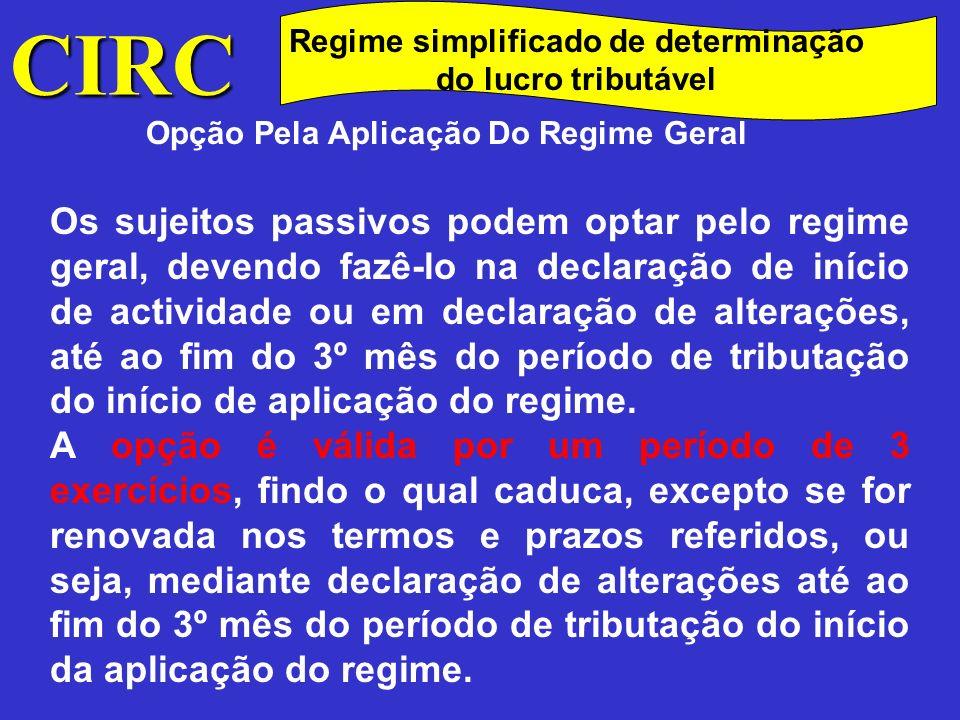 CIRC Regime simplificado de determinação do lucro tributável Vigência do regime O regime simplificado mantem-se, verificados os respectivos pressupostos, por um período mínimo de 3 exercícios, automaticamente prorrogável, salvo opção pelo regime geral.
