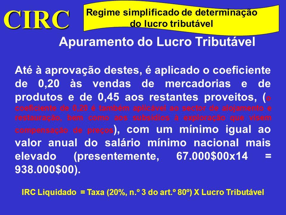 CIRC Regime simplificado de determinação do lucro tributável Cessação da aplicação do regime simplificado A aplicação do regime simplificado cessa, desde logo, por opção do sujeito passivo, após o decurso do período mínimo de permanência no regime.