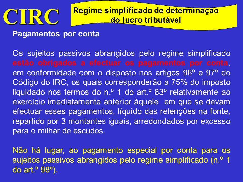 CIRC Regime simplificado de determinação do lucro tributável Crédito Fiscal ao Investimento (CFI) Os sujeitos passivos cujo lucro tributável for determinado pelo regime simplificado não podem beneficiar do regime do CFI (alínea a) do n.º 9 do art.º 11.º da Lei n.º 30-G/2000).